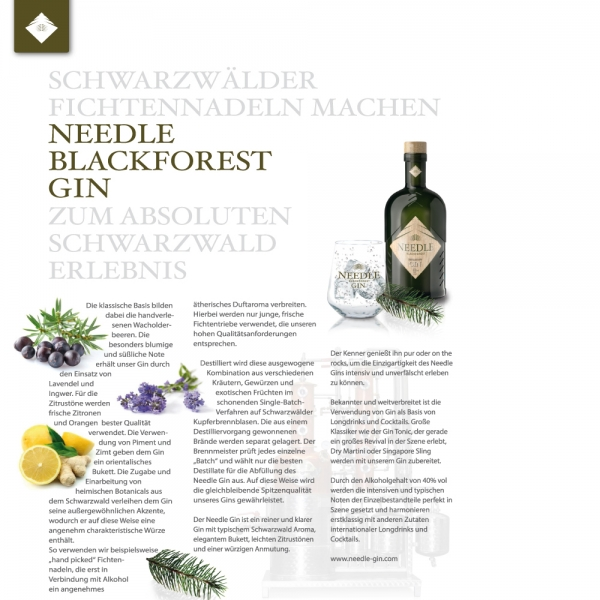 Needle Blackforest Distilled Dry Gin 0.5 l, 40 % Vol