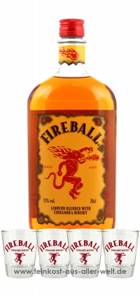 Fireball Likör Blended With Cinnamon & Whisky (0.7 l) + 4 Gläser